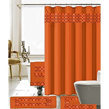 Banded Shower Curtain Bath Set 1 Mat Contour 12 Matching Fabric Rings 3 Pcs Towel 100 Polyester Orange
