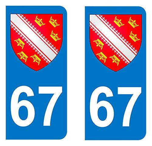 Paire Sticker immatriculation 67 - Blason Alsace Autocollant-immatriculation