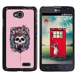 Paccase / SLIM PC / Aliminium Casa Carcasa Funda Case Cover - Native Vampire Skull Pink Floral - LG Optimus L70 / LS620 / D325 / MS323