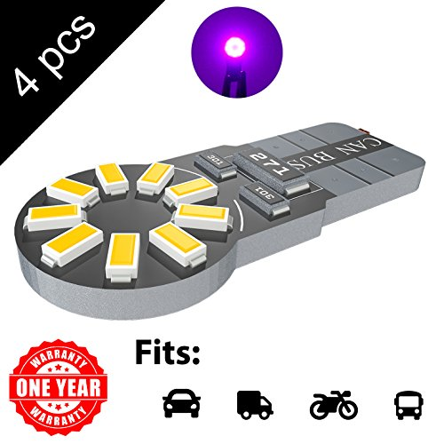 LED Monster 4-Pack Purple 18-SMD LED Light Bulb for License Plate Interior Map Dome Side Marker Light 194 168 2825 175 192 W5W T10 Wedge Super Bright High Power ()