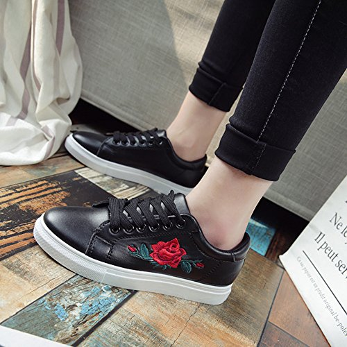 Lacci Bianco Fiori Ginnastica Juleya Nero Ricamo Trendy nero Da Basse A rosa Bianco E Con Sneaker Scarpe Casual Donna qwHO8