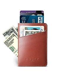 Slim Front Pocket Leather Wallet for Men Card Holder Up to 8 Cards & Cash HUSKK (Tan [CSCT.ca])