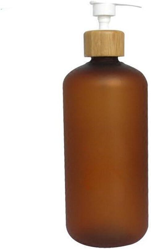 Upstore - Botella de plástico antigoteo con Bomba de bambú, dispensador de Jabón Líquido para inodoros, cosméticos, lociones, contenedores de Almacenamiento, plástico, Marrón, 500ml/16oz