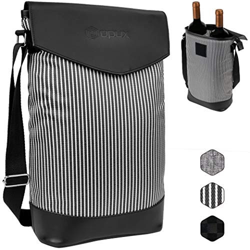 - OPUX Deluxe Insulated 2 Bottle Wine Carrier | Wine Tote Bag Cooler with Shoulder Strap and Leather Design | Padded Wine Bottle Carrying Bag for Travel Picnic -Black White Stripes