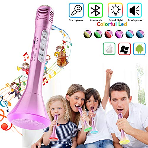 Shayson Wireless Karaoke Microphone, Kids Adults Microphone with Bluetooth Speaker, Karaoke Mic Portable Karaoke Player Machine for Home Party Music Singing Playing for iPhone/Android/iPad/PC (Pink)