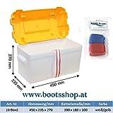 Batteriekasten mit Belüftung und Gurt für Batterien 400 * 180 * 200 mm incl. 2 Stk. Batterieschnellklemmen