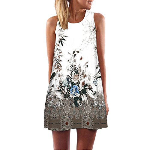 ANJUNIE Women Loose 3D Floral Print Short Dress Summer Vintage Sleeveless Mini Dress(Brown,S)