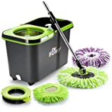 DR FUSSY Spin Mop Bucket System - Microfiber Mop with Easy Wringer Bucket for Kitchen Bathroom-Green & Black
