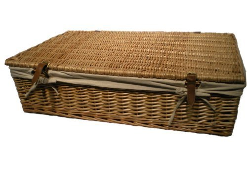 Buff Willow Wicker Shallow/Under Bed Storage Basket - with lid by Somerset Levels (Wicker Shopping With Handles Leather Baskets)