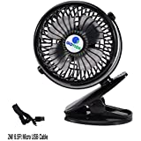 Glovion Mini Desk Fan,Clip on Stroller Fan with 2600mAh Battery and 6.5 ft Micro USB Charging Cable - Black