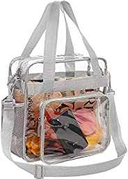 Bagail Clear Bag Stadium Approved Tote Bags with Front Pocket and Adjustable Shoulder Strap