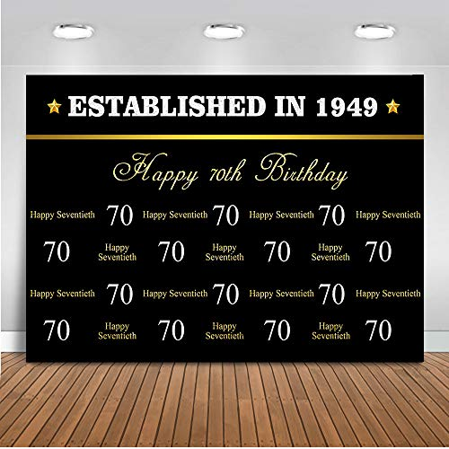 (Mehofoto Happy 70th Birthday Gold Backdrop Black Gold Step and Repeat Photography Backdrop 7x5ft Vinyl Established in 1949 70th Birthday Party Banner Backdrops)