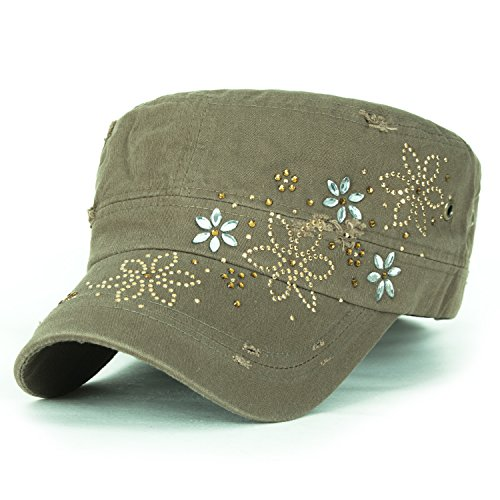 ililily Crystal Gemstone Stud Flower Vintage Cotton Military Army Hat Cadet Cap, Olive (Military Cap Hat Olive)