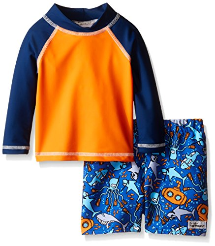 Flap Happy Baby UPF 50+ Rash Guard And Infant Swim Diaper Trunk Set, Playa/Sea Safari, 12 Months by Flap Happy