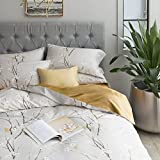Japanese Oriental Style Cherry Red Blossom Floral branches Print Duvet Quilt Cover 300tc Cotton Bedding 3 piece Set (King, Taupe Mustard)