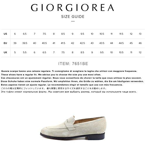 Mano a Italia Fatte Scarpe Mocassini in Eleganti Giorgio Uomo Rea Beige Uomo Beige Artigianali Uawc7pvq