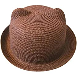 Voberry Unisex Kids Cat Ear Straw Hat Beach Sun Visor Cap Summer Breathable Hat For Boys Girls (Coffee)