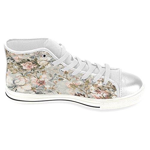 Scarpe Di Tela Da Donna Interesse Scarpe Da Ginnastica Alte Scarpe Basse Scarpe Stringate Moda Forma Bouquet Di Rose Bianche