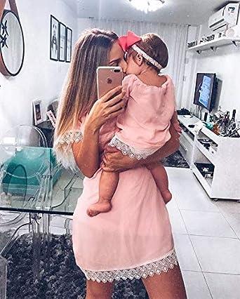 Loalirando Madre e Figlia Abiti Estivi in Pizzo Bianco Abiti Famiglia Senza Spalline Vestito Principessa Bambina//Vesti Donna Eleganti Rosa