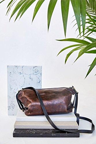 Hobo Bronze - Trendy Handmade Shiny Bronze Metallic Genuine Leather Small Crossbody Shoulder Bag