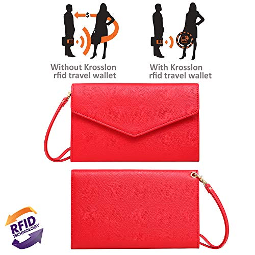 Krosslon Travel Passport Wallet for Women Rfid Wristlet Slim Family Document Holder, 11# Agate Red by KROSSLON (Image #2)