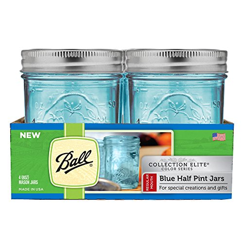 Ball Regular Mouth Elite Collection Half Pint Jars, Blue (4-Pack) ()