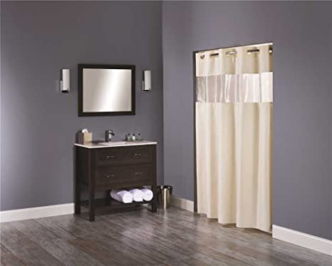 Hookless Clear Shower Curtain.Hookless Hbh08vis05 Vision Shower Curtain Beige With Clear Top 71 X 74