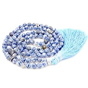 Mala Budista, Mala Beads Collar/Pulsera, Rezo Budista Collar/Pulsera, Borla Collar, Azul Spot Jasper Mala