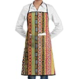 Novelty Mexican Blanket Stripes Kitchen Chef Apron With Big Pockets - Chef Apron For Cooking,Baking,Crafting,Gardening And BBQ