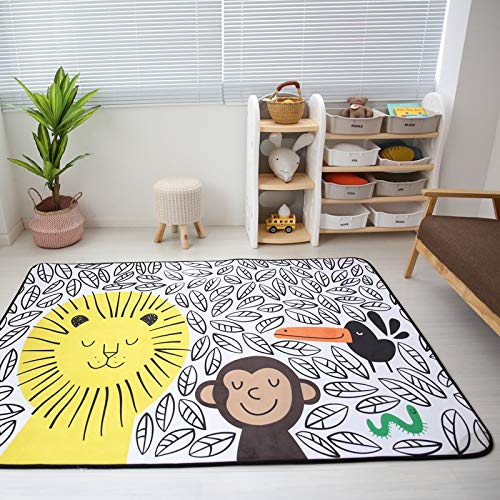 Vier Seasons Samtiger Langsamer Rebound Verdickte Wohnzimmer Matte Kind Rutschfest Kriechntes Pad Baby-pad Game Carpet Rund 150  195cm Puzzle-Park Rambled