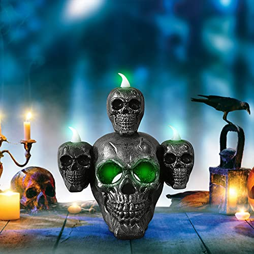Skull Light Horror Candle Light Smoke Sandalwood LED Desktop Decoration , Halloween Decorations Perfect for Halloween Party, Haunted House Creating Horror Decoration (Silver)