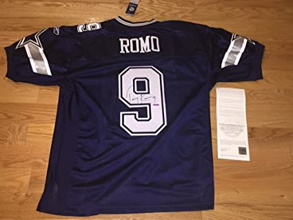 reputable site 97be6 a02c8 Tony Romo Autograph Signed Authentic Cowboys Blue Reebok On ...