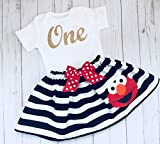Elmo first Birthday outfit, Elmo black and white striped skirt and Sparkle gold cursive one onesie