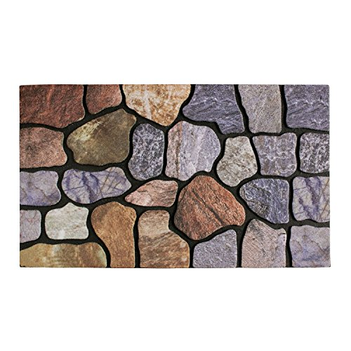 Front Door Mat Entrance Rug Floor Mats, Waterproof Floor Mat Shoes Scraper Doormat, 18''x30'' Patio Rug Dirt Debris Mud Trapper Outdoor Welcome Door Mat Carpet (Cobblestone) (Door Mats Xmas)