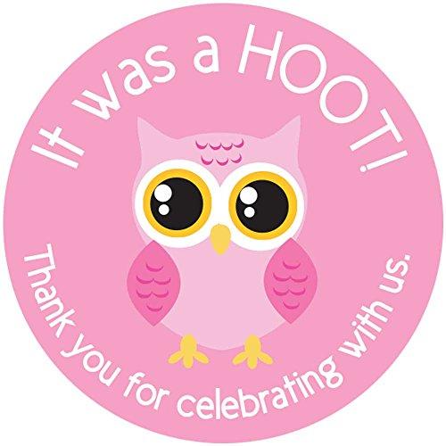 Digitaldoodlebug 2 Inch Thank You Stickers Light Pink Owl Favors Set of 60 -