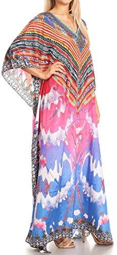 Arancio Anahi V Lungo Caftan Strass Sakkas 17176 Vestito rosa Collo Flowy In Con Design Su copertura ZwdCCxqtH