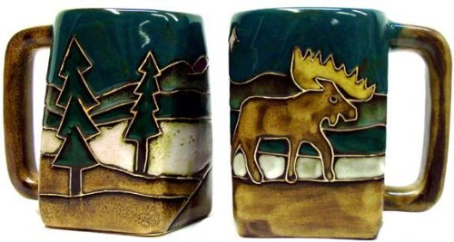 Coffee Cup Collectible - One (1) MARA STONEWARE COLLECTION - 12 Ounce Coffee Cup Collectible Square Bottom Dinner Mug - Moose Design
