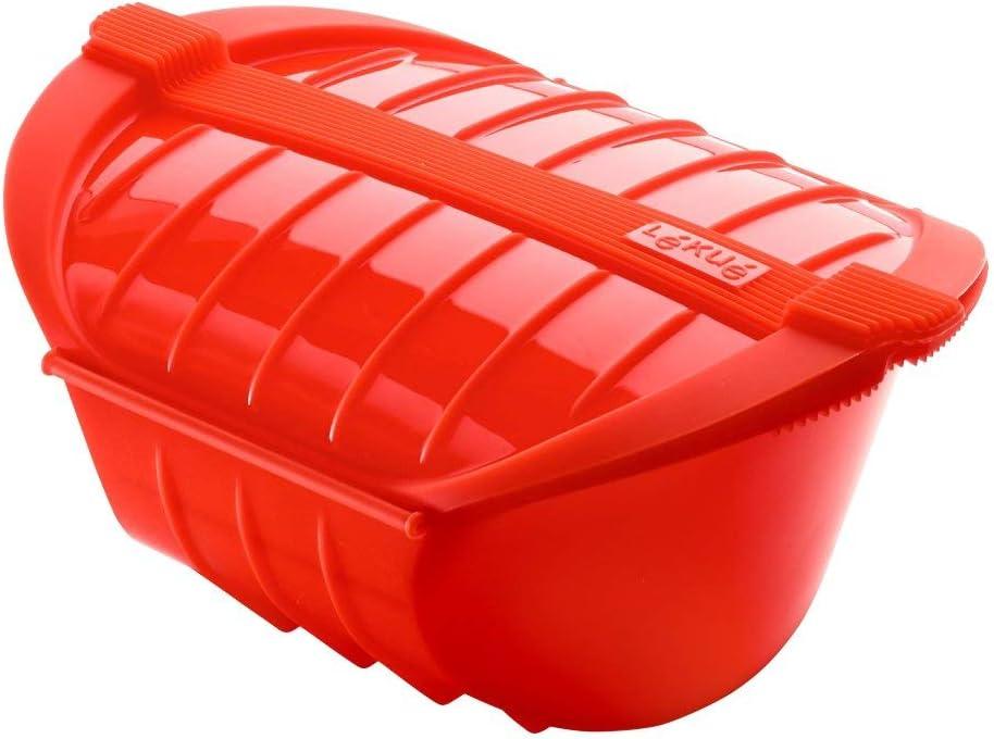 Lékué - Estuche hondo de vapor XL, capacidad de 1000 ml, para 3-4 personas, color rojo: Amazon.es: Hogar