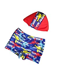 Boys Swim Trunk and Swimming cap 2 Pieces Swimsuit Shorts for Kids Swimming
