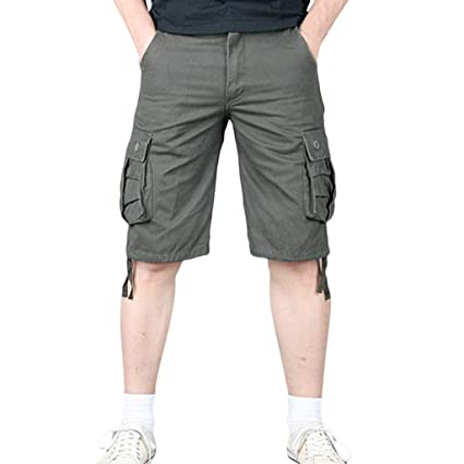 e4dd449588 Image Unavailable. Image not available for. Color: Men Cargo Pants Summer Shorts  Cotton Multi-Pocket Zipper Solid ...