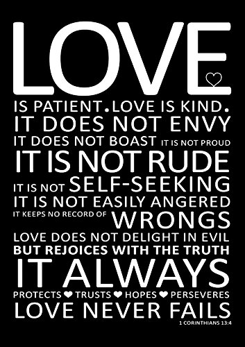 Life Inspirational Quote Sign Poster Print Love Is Patient Love Is