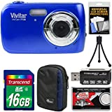 Vivitar ViviCam F126 Digital Camera (Blue) with 16GB Card + Case + Mini Tripod + Reader + Kit