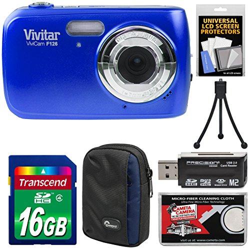 Vivitar ViviCam F126 Digital Camera (Blue) with 16GB Card + Case + Mini Tripod + Reader + Kit Digital Blue Vivitar Vivicam