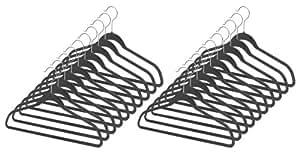 Whitmor Spacemaker Plastic Suit Hangers Set of 20-Black