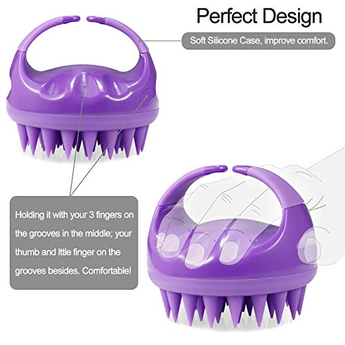 Vextronic Shampoo Brush Scalp Massager 2 Pack for Wet and Dry Scalp Hair Massage Brush with Soft Silicone Bristles for Straight Curly Hair, Long Short Hair, Kids and Pets