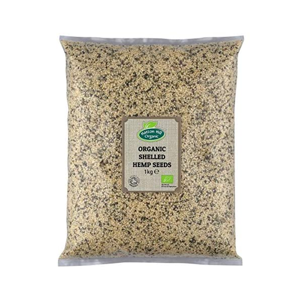 Organic Shelled (Hulled) Hemp Seeds 1kg by Hatton Hill Organic – Free UK Delivery