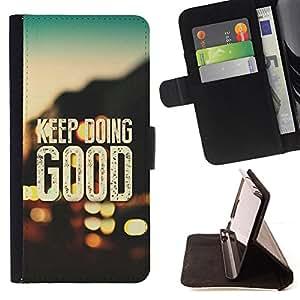BullDog Case - FOR/Samsung Galaxy Note 4 IV / - / KEEP DOING GOOD /- Monedero de cuero de la PU Llevar cubierta de la caja con el ID Credit Card Slots Flip funda de cuer