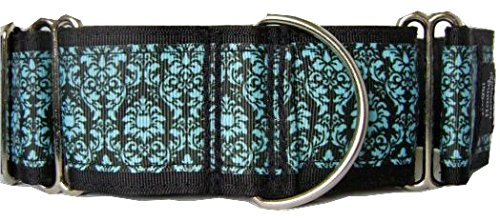 Regal Hound Designs 2'' Wide Martingale Dog Collar, Lined, 2 Sizes: Medium, Large/XL, Turquoise Damask Design (Large/XL 17-26'')