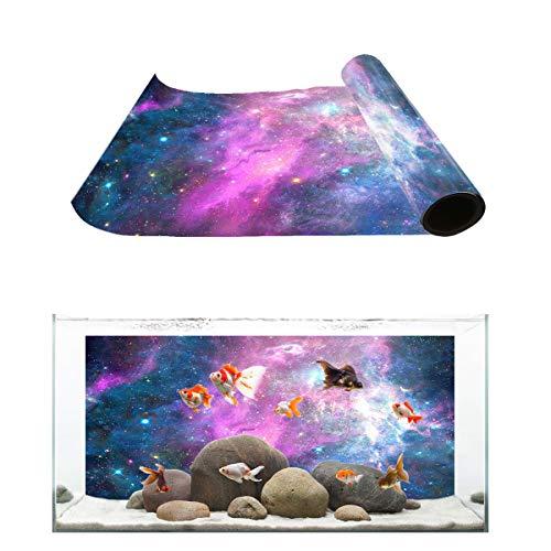 T&H Home Aquarium Décor Backgrounds - Purple Outer Space Starry Sky Fish Tank Background Aquarium Sticker Wallpaper Decoration Picture PVC Adhesive Poster, 30.4