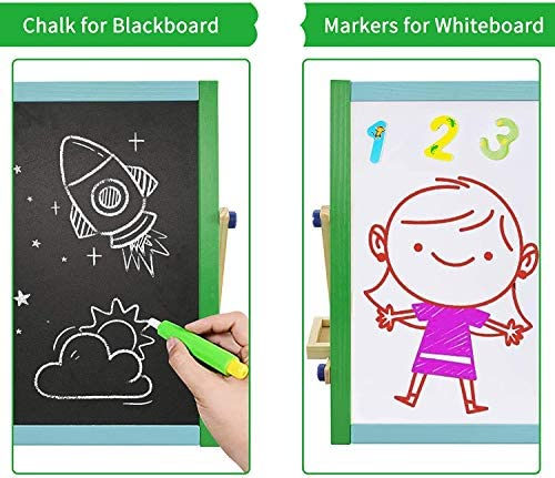 Tabletop Art Easel For Kids, Wooden Double-Sided Magnetic Dry Erase Board & Chalkboard, Toddler Gifts